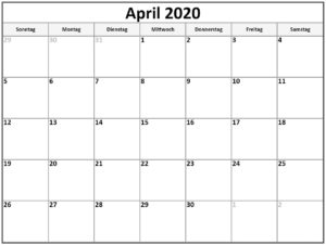 2020 April Kalender Für Kinder