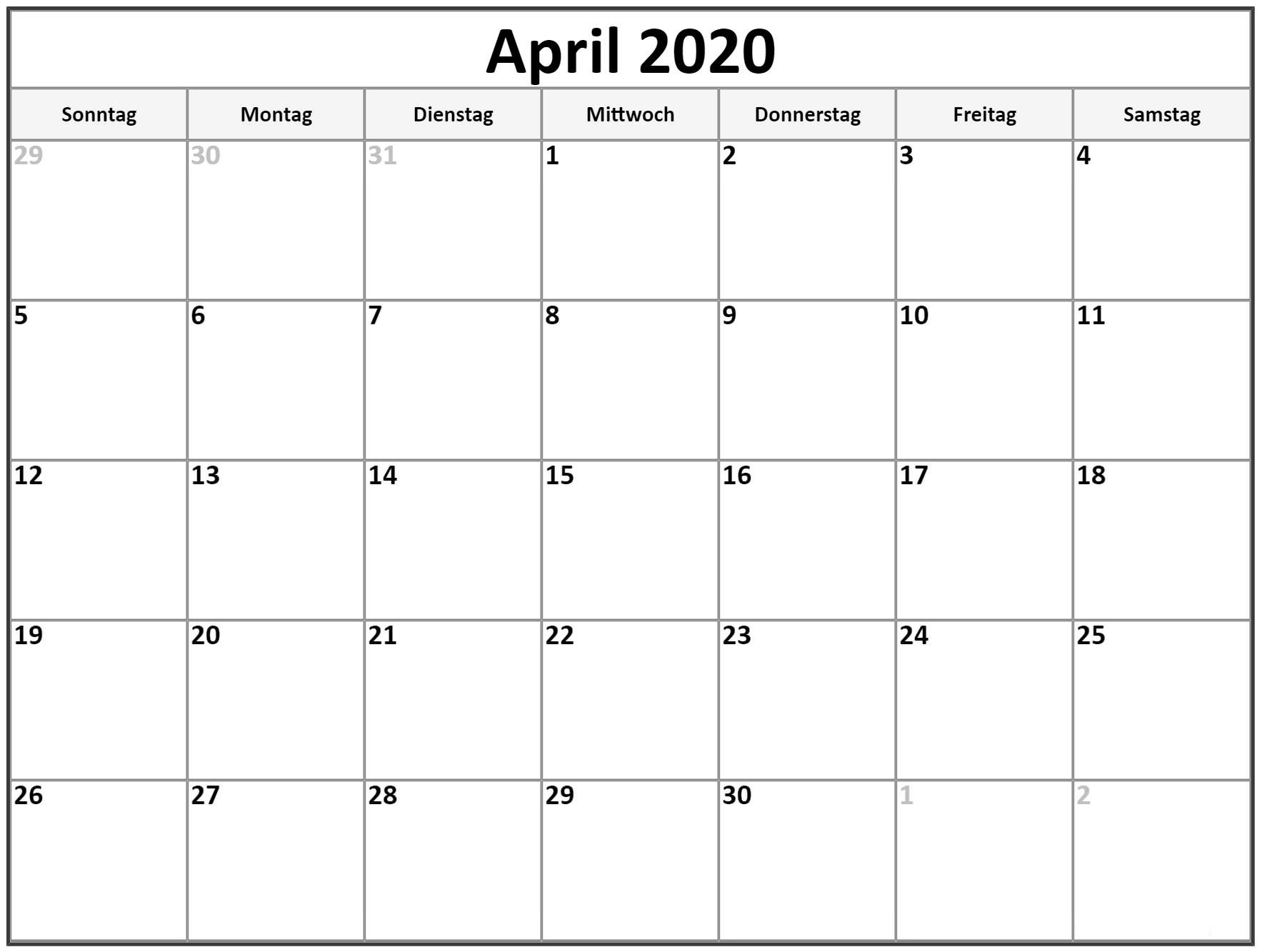 2020 April Kalender Für Kinder