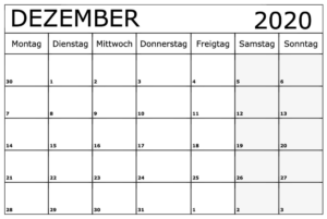 Kalender Dezember 2020 Ausdrucken
