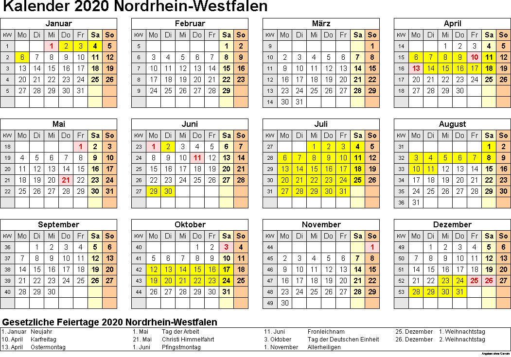 Sommerferien 2020 NRW PDF