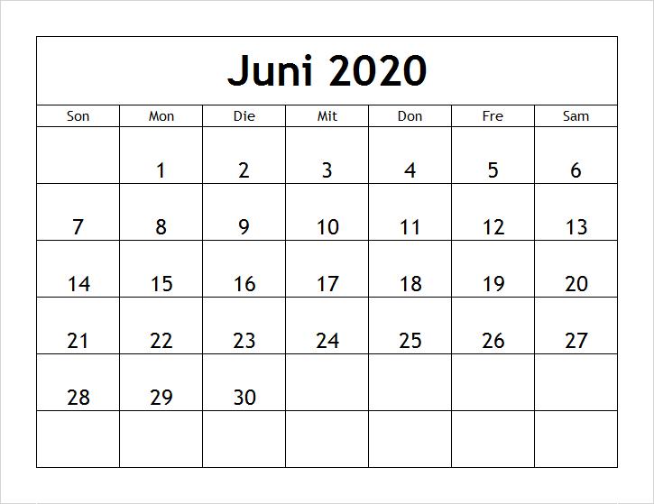 Juni 2020 Kalender