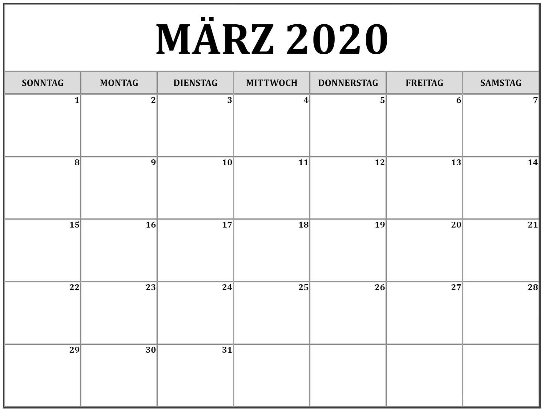 2020 März Kalender Für Studenten