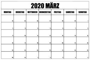 2020 März KalenderLandschafts Format