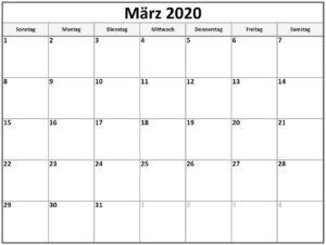 2020 März KalenderMit Notizen