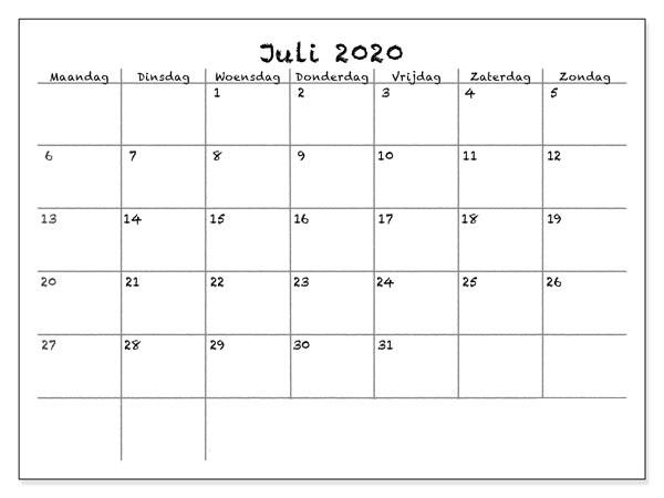 Kalender Juli 2020 Drucken
