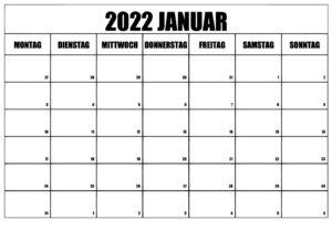 2022 Januar Kalender