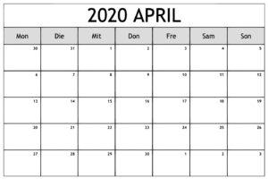 April Feiertags Kalender 2020