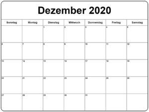 Dezember 2020 Kalender