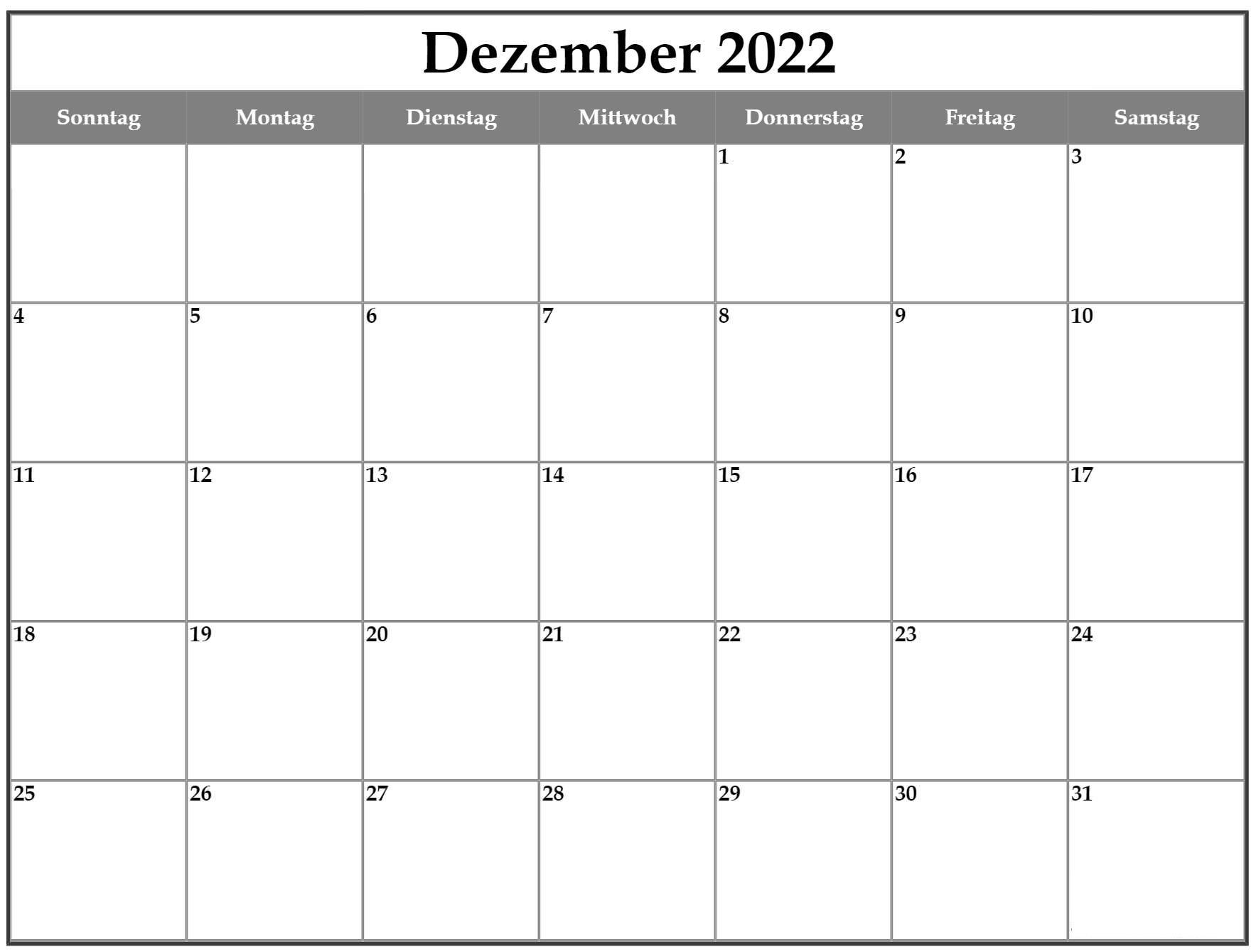 Dezember 2022 Kalender Zum Ausdrucken