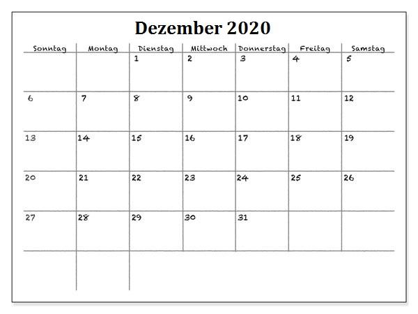 Frei Kalender Dezember 2020 Ausdrucken