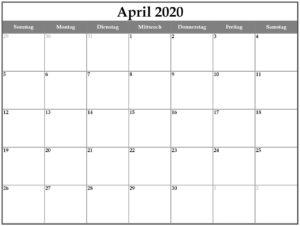 Druckbare leere April 2020 Kalender