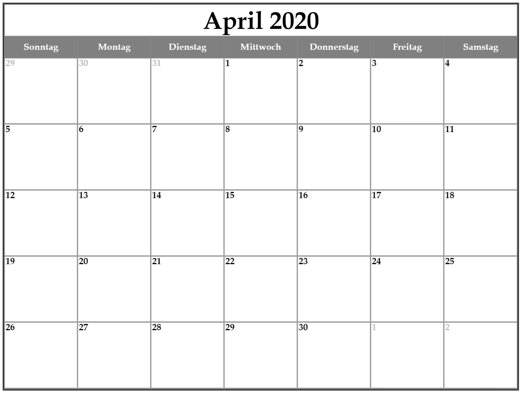 Druckbare leere April 2020 Kalender