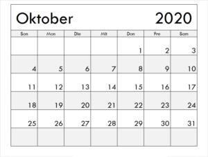 Monats Kalender Oktober 2020