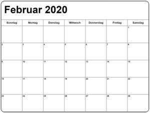 Februar 2020 Leerer Kalender