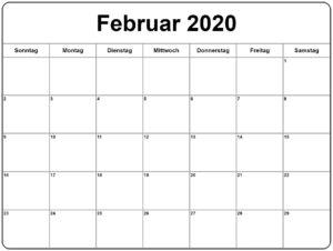 2020 Februar Kalender Mit Notizen
