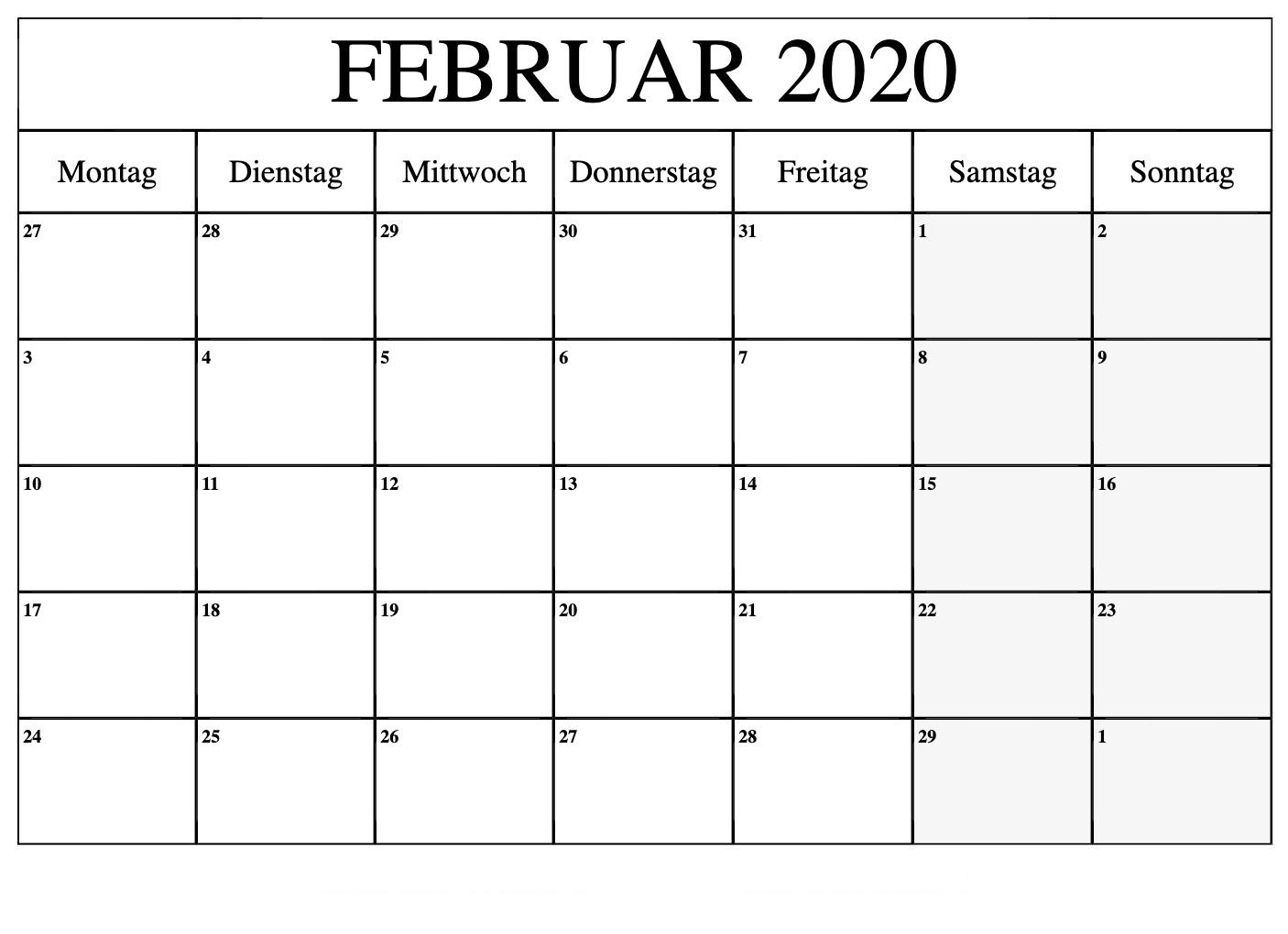 Februar 2020 Kalender Landschafts Format