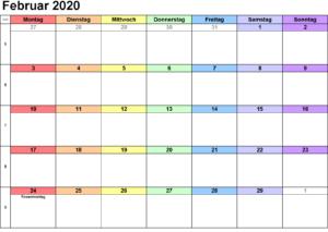 Februar Feiertagskalender 2020