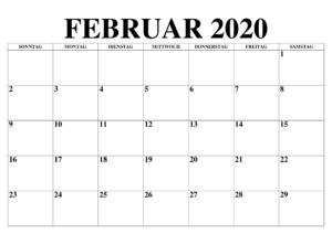 Februar A4-Kalender 2020
