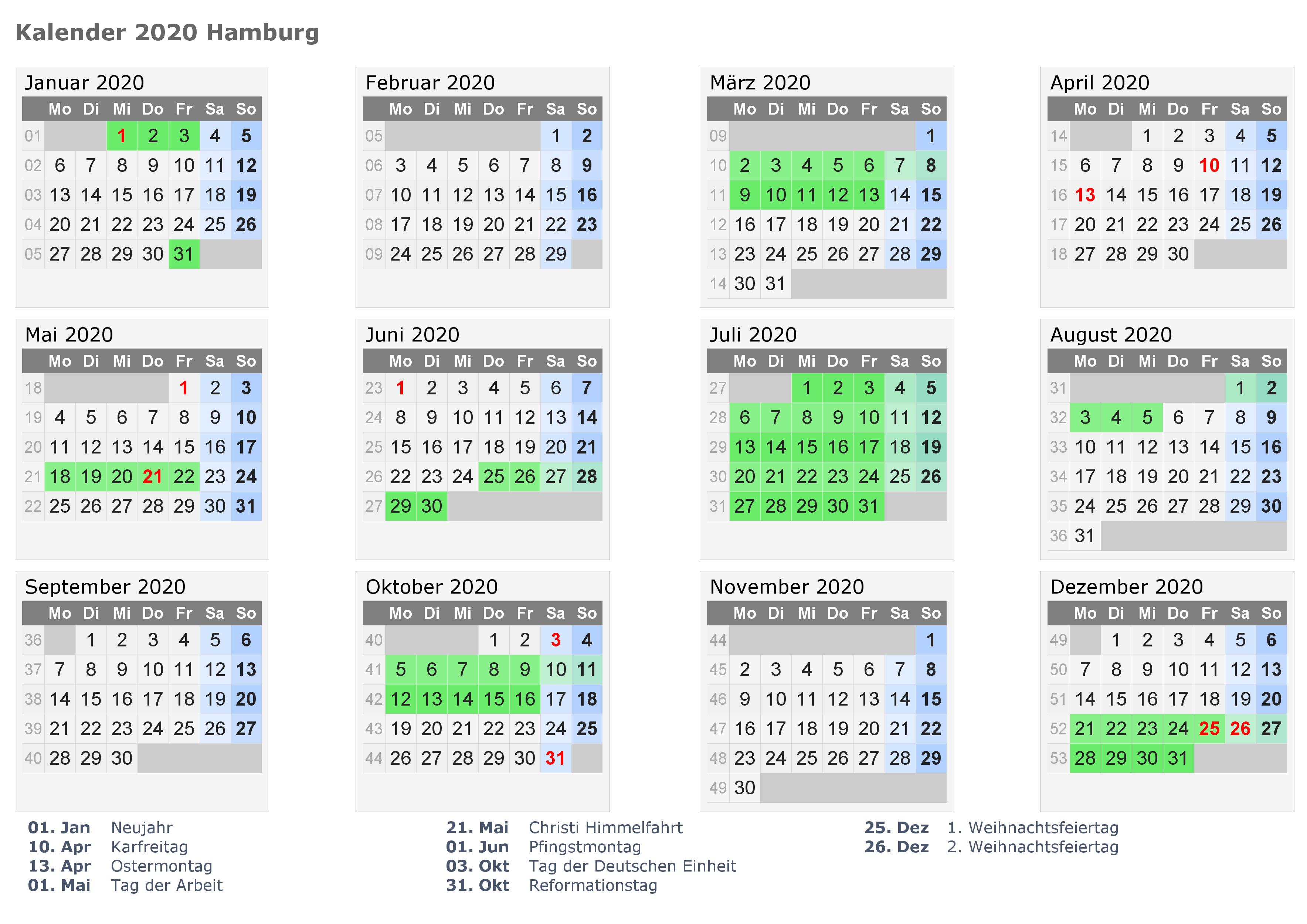 Kalender Hamburg 2020 Zum Ausdrucken