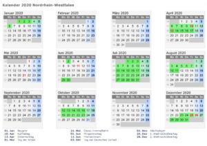 Kalender NRW 2020 Zum ausdrucken