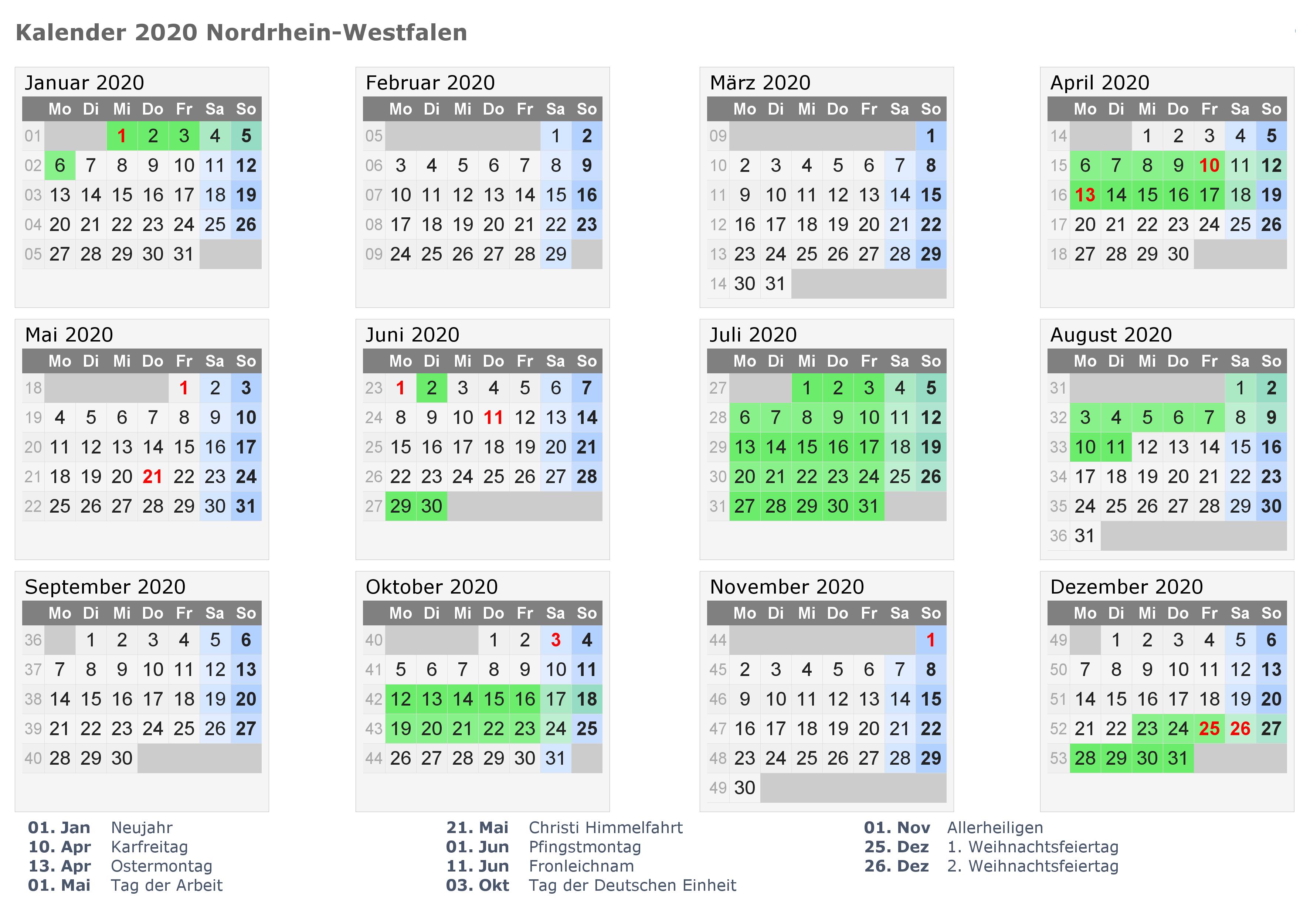Sommerferien 2020 Nrw Kalender Feiertagen Excel Pdf