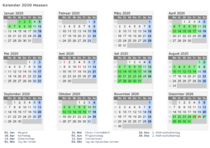 Sommerferien Hessen 2020 Excel Word