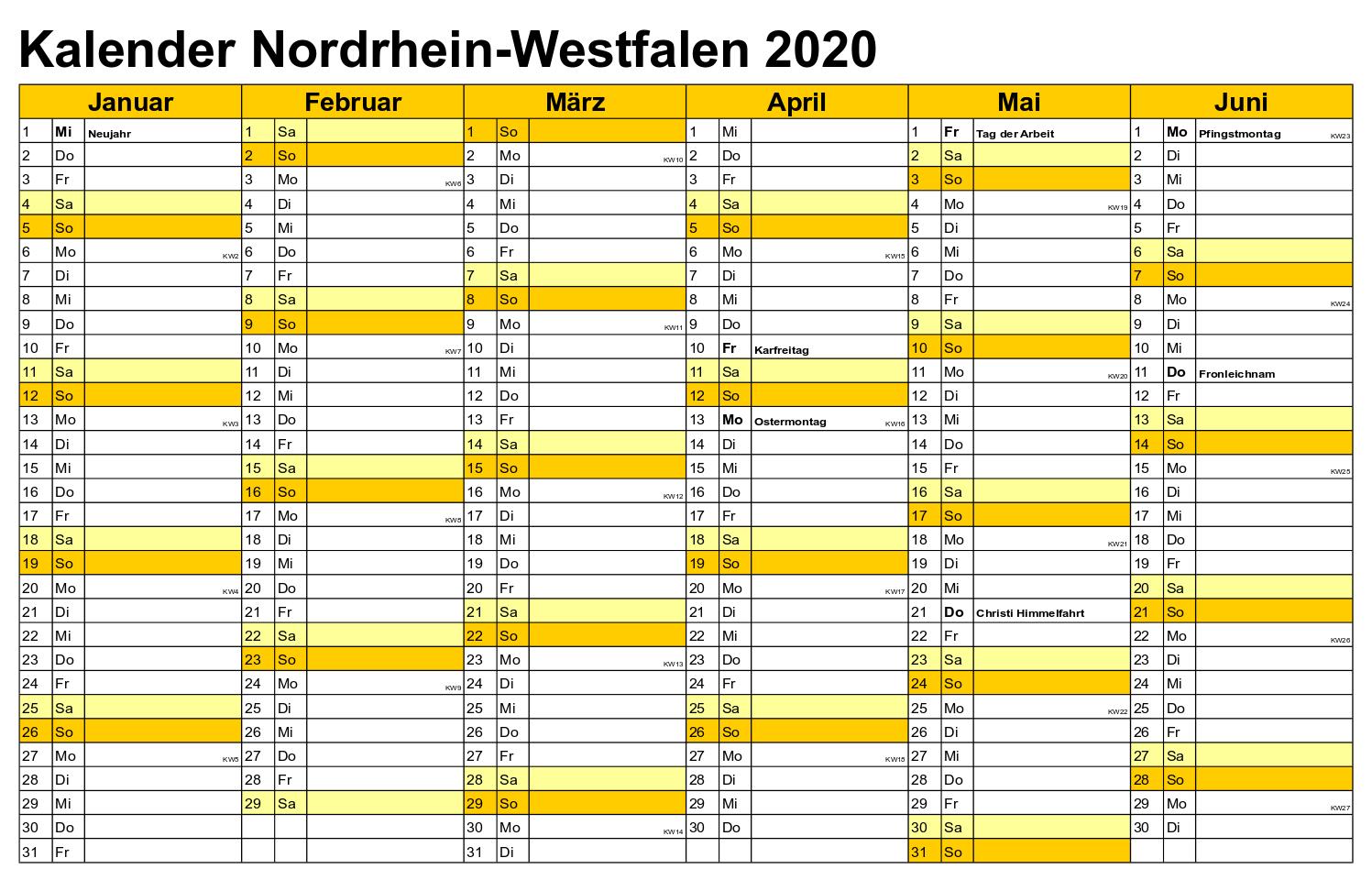 Feiertagen 2020 NRW