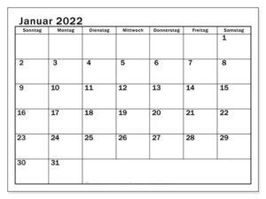 Januar 2022 Kalender PDF