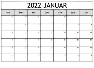 Januar 2022 Leerer Kalender