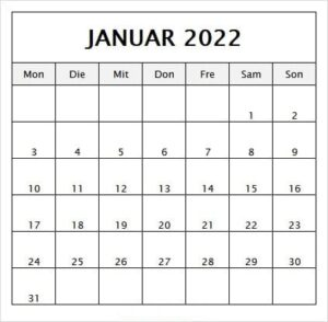 Januar Urlaubskalender 2022