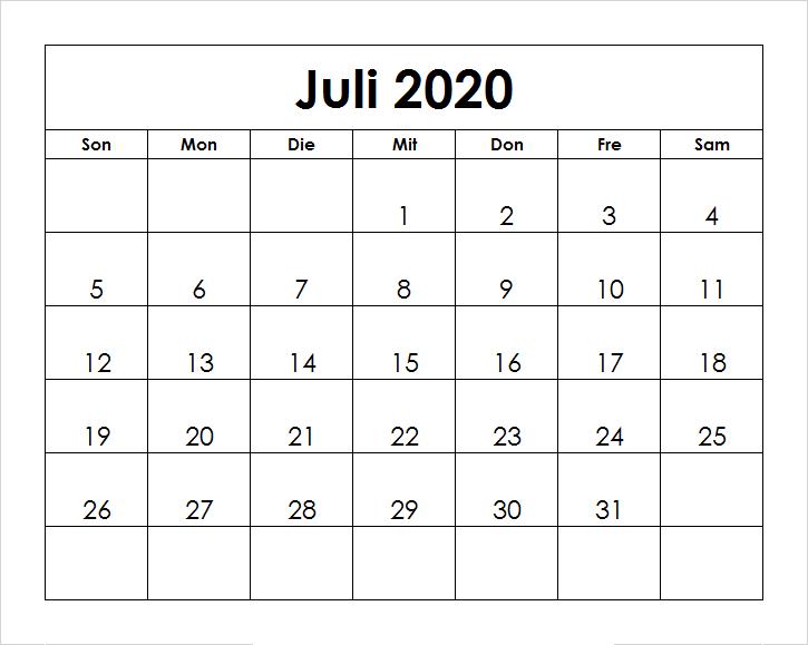 Frei Kalender Juli 2020 Ausdrucken