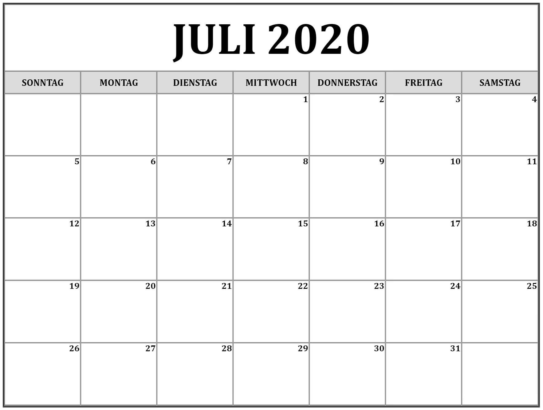 Kalender 2020 Juli Zum Ausdrucken