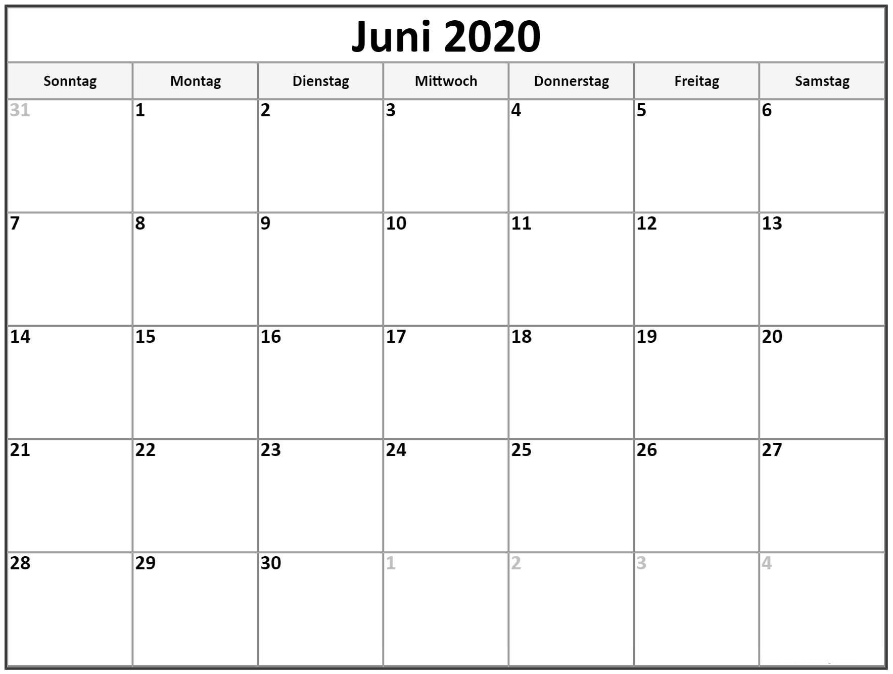 Kalender 2020 Juni Zum Ausdrucken