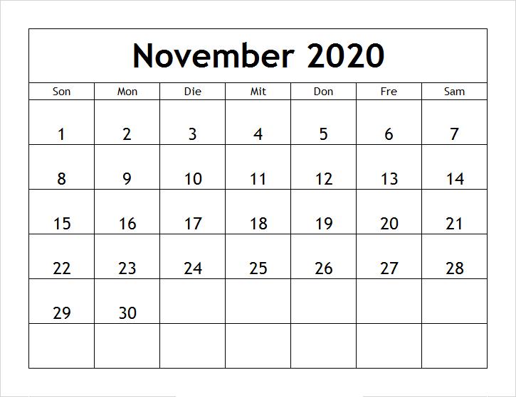 Kalender 2020 November Zum Ausdrucken