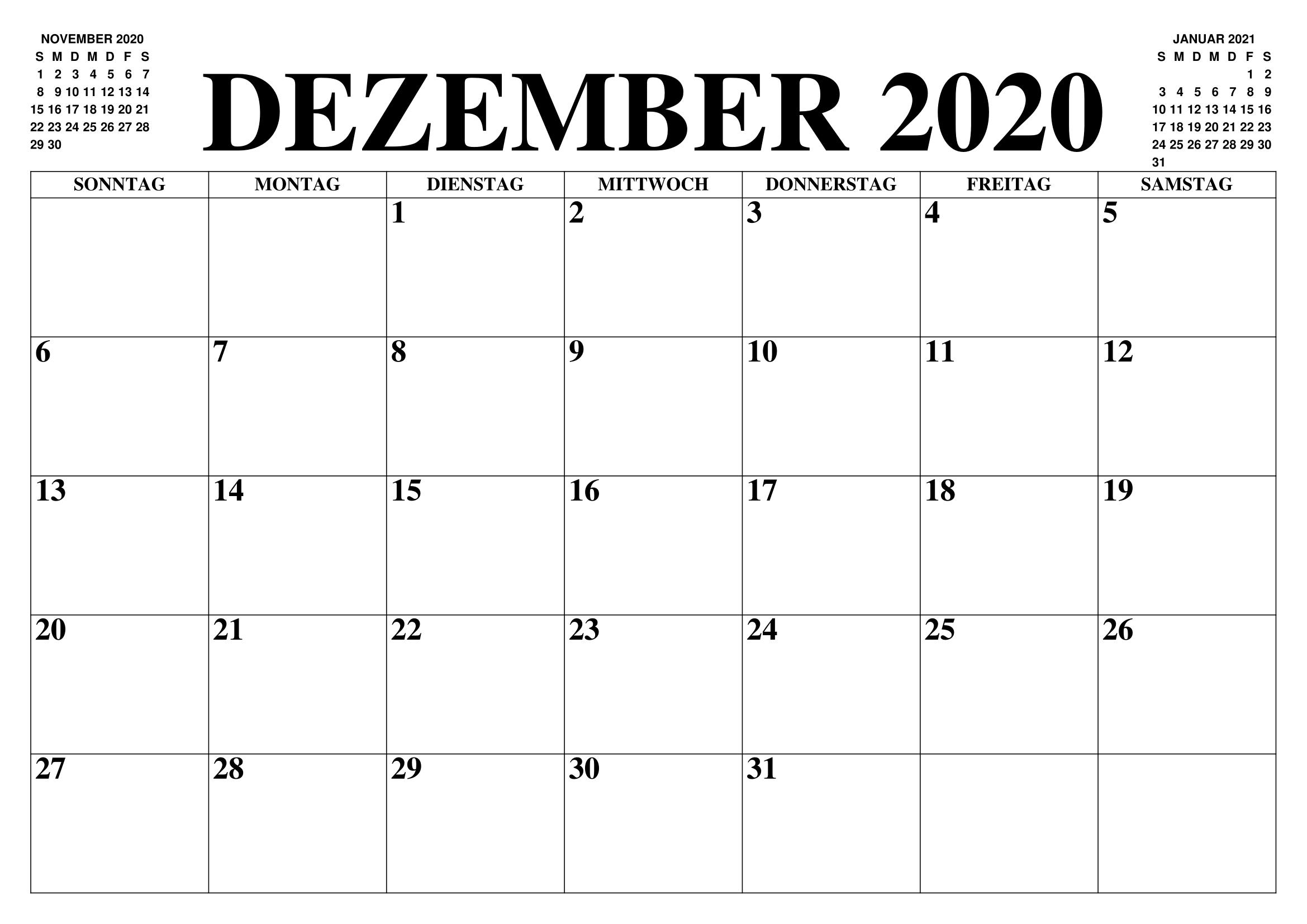 Kalender Dezember 2020 Drucken