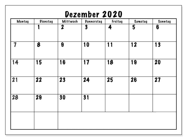 Kalender Dezember 2020 Vorlage