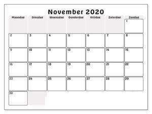 Kalender November 2020 Drucken