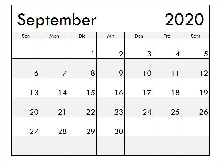 Kalender September 2020 Ausdrucken