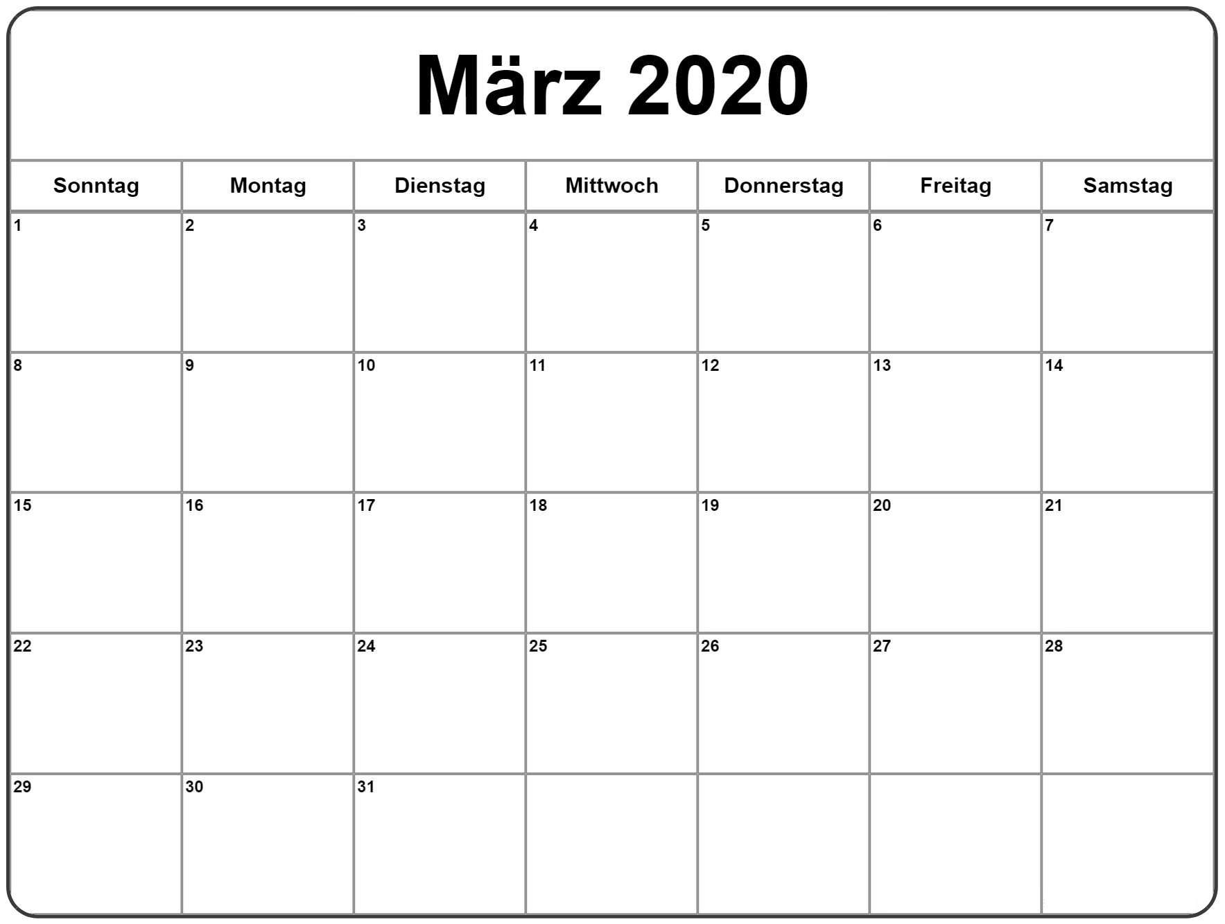 März 2020 Druckbarer Kalender