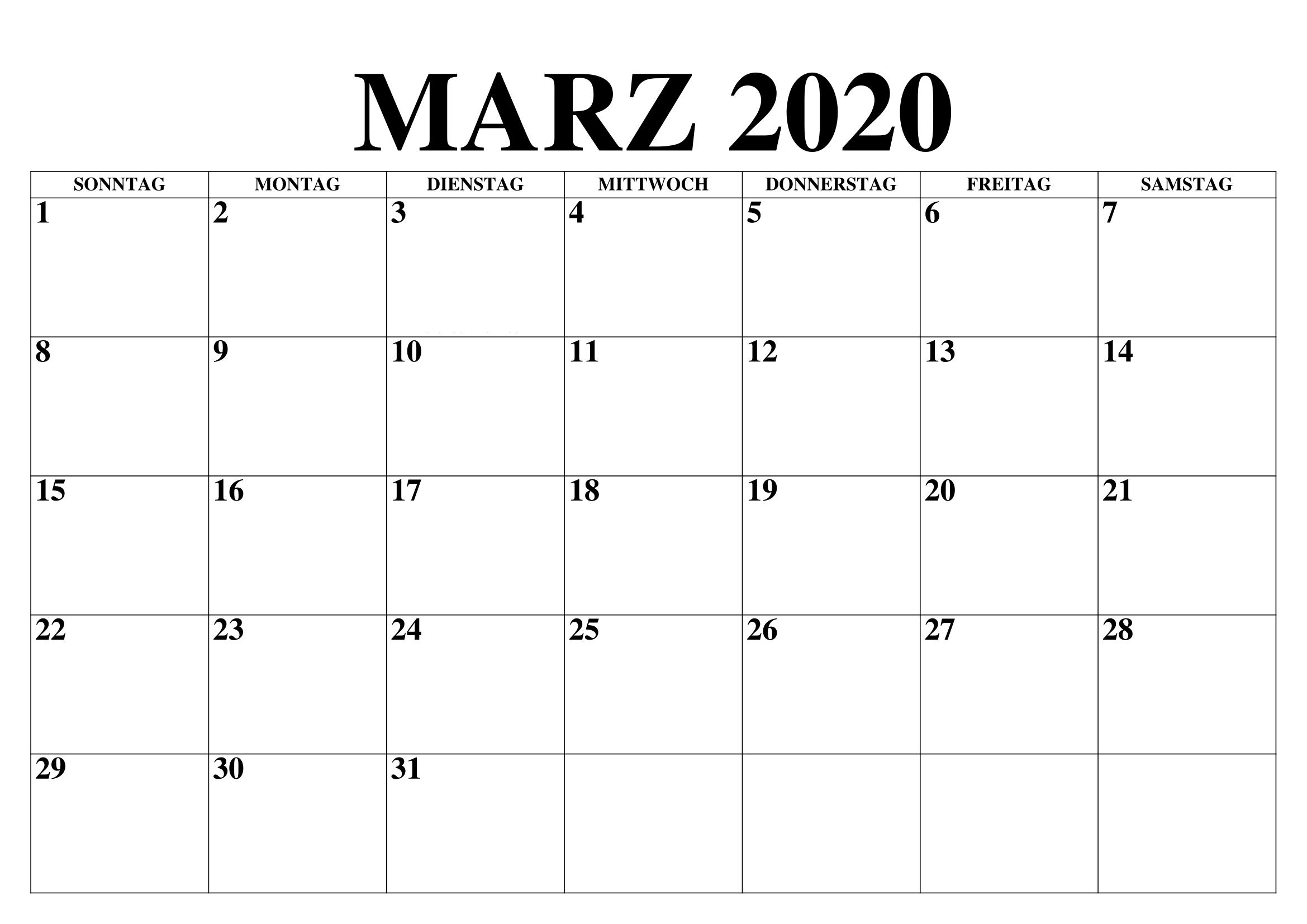 März 2020 Leerer Kalender