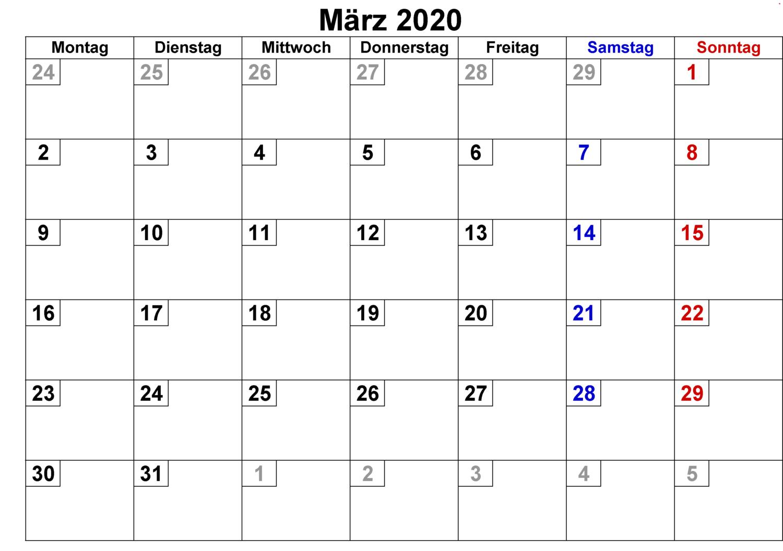 März Feiertags Kalender 2020