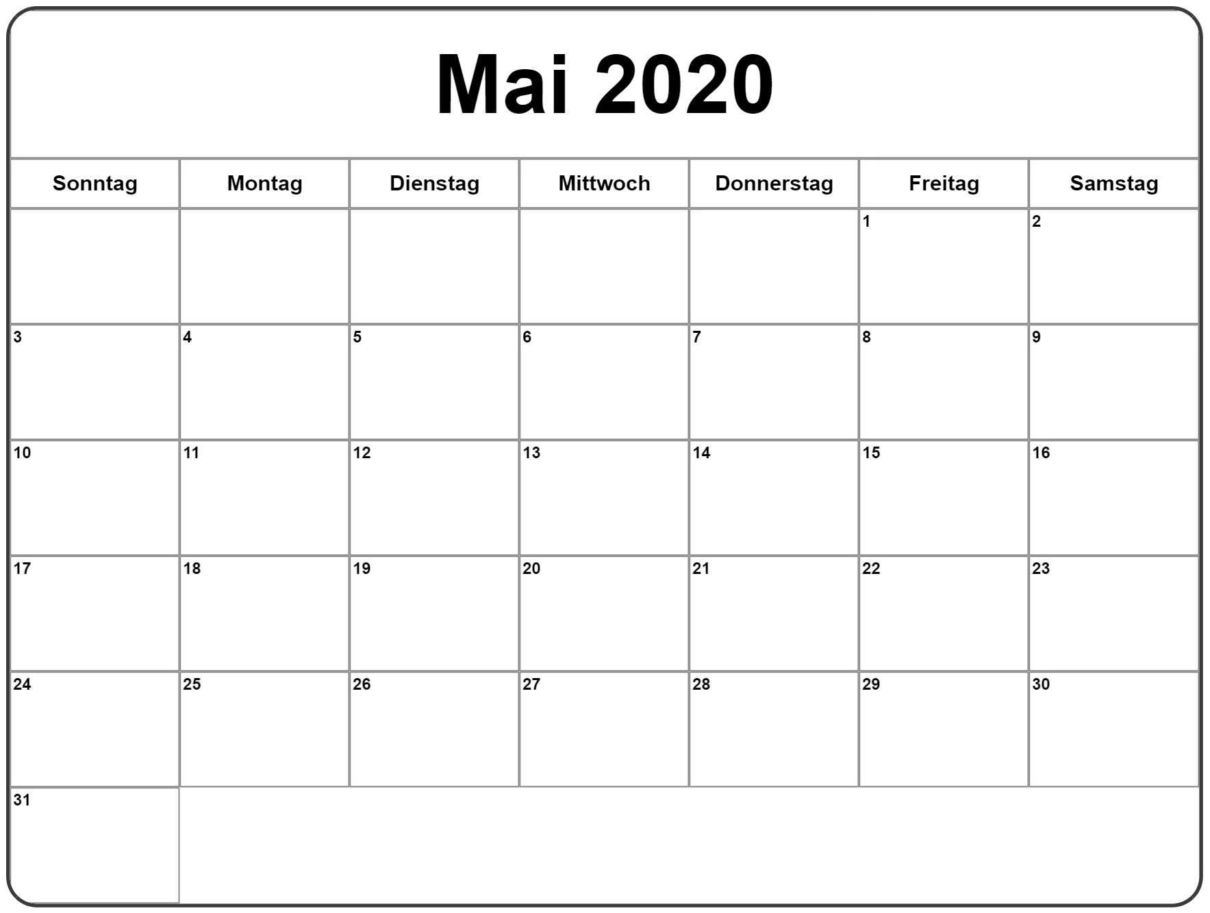 Mai 2020 Leerer Kalender