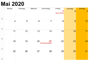 Mai Feiertags Kalender 2020