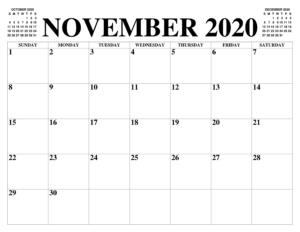 Frei Kalender November 2020 Ausdrucken