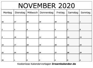Kalender November 2020 Vorlage