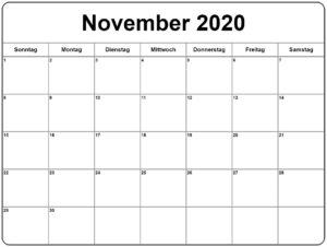 November 2020 Kalender