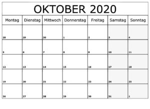 Kalender Oktober 2020 Vorlage