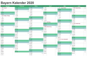 Sommerferien Bayern 2020 Excel Word