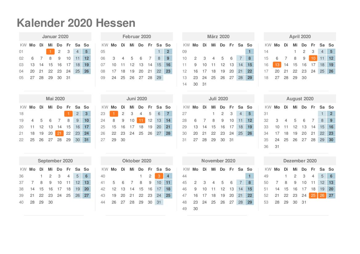 Sommerferien 2020 Hessen PDF