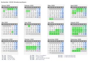 Kalender Niedersachsen 2020 Zum Ausdrucken
